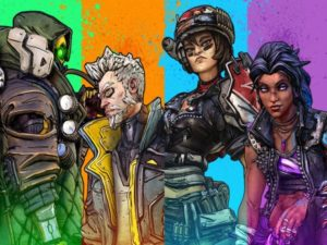 The 4 main playable characters (and classes) in Borderlands 3. From left to right: FL4K, the Beastmaster; Zane, the Operative; Moze, the Gunner; Amara, the Siren. Image sourced from Twitter.