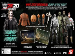 """2K Games unveils all the content arriving in """"Bump in the Night,"""" the first of 4 content packs collectively titled """"WWE 2K20 Originals."""" Image sourced from WWE 2K20."""