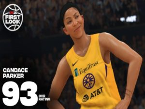 In-game screenshot of Candace Parker, power forward for the Los Angeles Sparks, in NBA 2K20. Image sourced from NBA 2K.