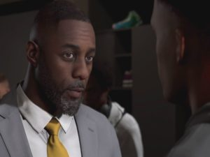 Screenshot of actor Idris Elba (left) in the story mode for NBA 2K20. Image sourced from HYPEBEAST.