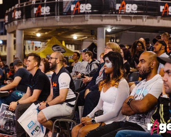 The crowd is watching an esports tournament at rAge 2018. Image sourced from rAge.