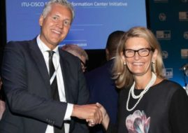 Doreen Bogdan-Martin (right), Director of the ITU Telecommunication Development Bureau, and Rik Bleeker (left), CSR Country Engagement Manager Benelux at Cisco Systems during the initiative's launch at ITU Telecom World 2019 in Budapest, Hungary