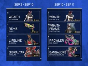 The rotation schedule for the event's limited-time cosmetics. Image sourced from EA.